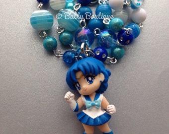 Sailor Mercury // Sailor Moon // Beaded Necklace // Inner Senshi