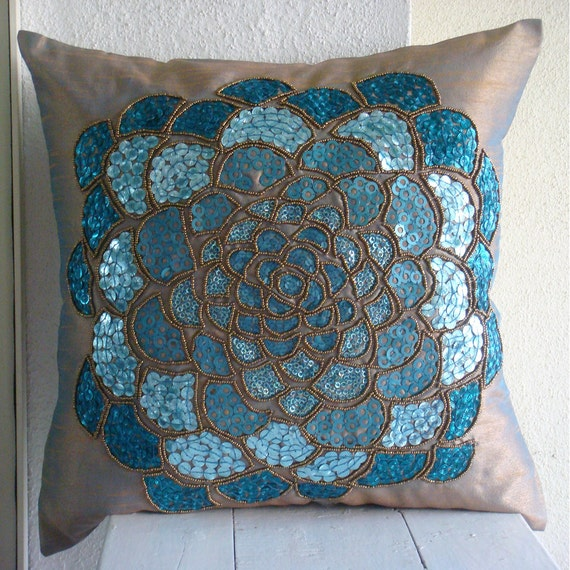 Blue Cushion Covers 16x16 Silk Pillows Covers For