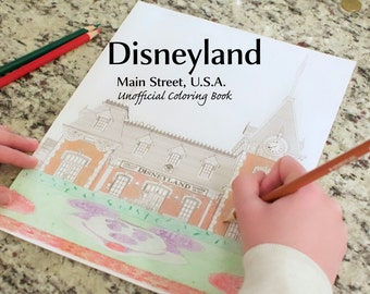 Disneyland Coloring Book - Main Street, U.S.A. Printable Download Unofficial for Kids and Adults