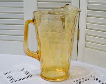 Vintage Carnival Glass Pitcher Honeycomb Pattern Large Ice Tea Pitcher Ice Lip Iridescent Amber PanchosPorch