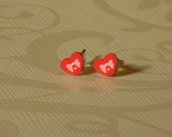 Teeny Tiny Red Heart with Bow Stud Earrings