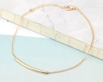 Bar Anklet, Rose gold bar anklet, Rose gold anklet, Gold Anklet, Silver Bar Anklet, Adjustable anklet