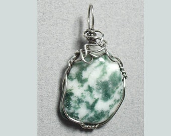 Wire Wrapped Tree Agate Pendant .925 Sterling Silver; Wire Wrapped Stone Pendant; Unique Hand Crafted Green White Stone Pendant