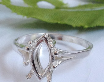 Sterling Silver Ladies Wire Mount Marquise Ring, Sizes 5, 6, 7, 8, 9 ( 10X5mm-20X10mm). 163-497