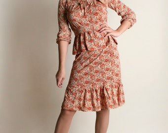 Vintage 1970s Skirt & Blouse Set - Autumn Rust Brown Floral Print Top and Ruffle Skirt - Small