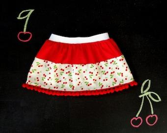 Baby girl pompom skirt, cotton skirt, cherry print, red white green girl outfit, spring summer baby girl, back to school, cherry baby shower