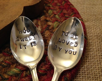 Handstamped Spoons, Hand Stamped Vintage Coffee Spoon, Hand Stamped Vintage Silver Spoons, Stamped Spoons, Hostess Gift, Wedding Gift