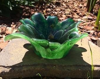 Fused Glass Araila Leaf Bowl in Hues of Green - Food Safe