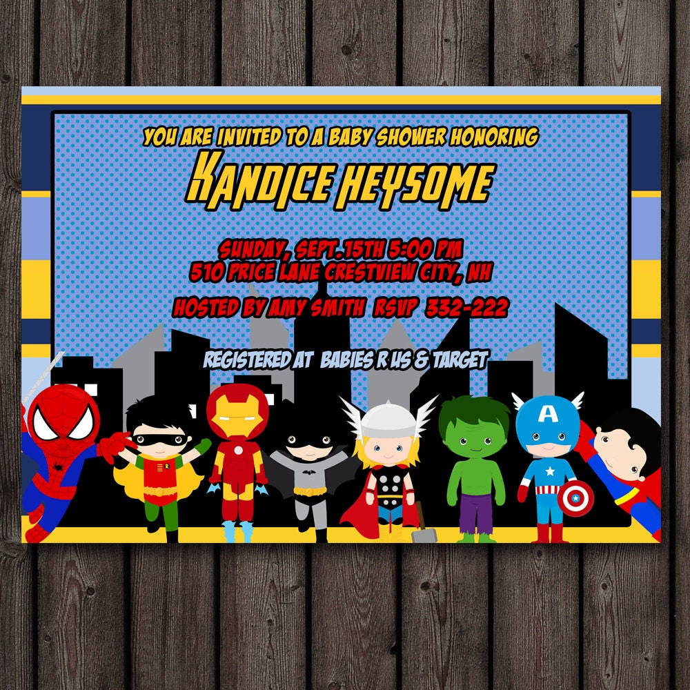 superhero baby shower invitation customized wording included