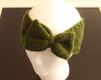 Knitted Ear Warmer Headband with Bow