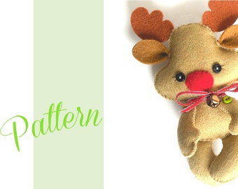 Reindeer Christmas PDF Ornament pattern-Felt Christmas Ornament pattern-Rudolph ornament-Reindeer-DIY-Stocking stuffer-Felt ornament-Animals