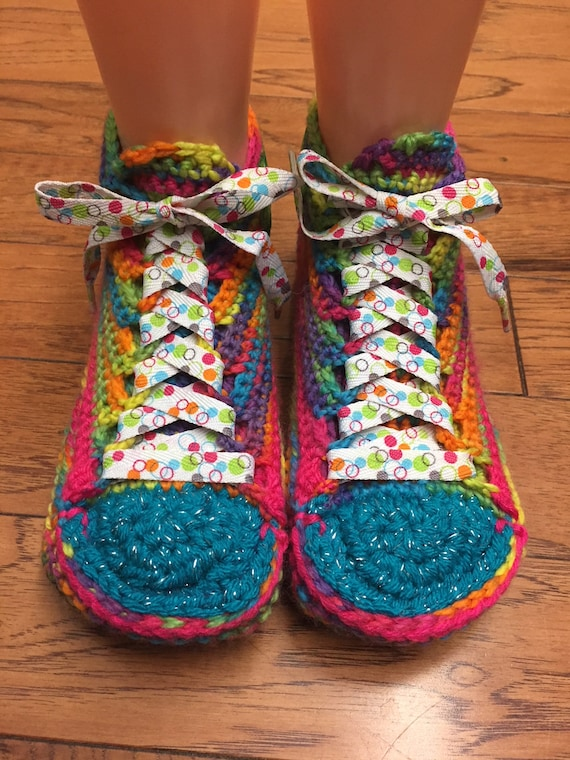 314 Crocheted flower sneakers slippers 7 slippers List rainbow shoe 9 daisy sneakers flower rainbow tennis slippers sneaker Womens slippers RwRp8xUr