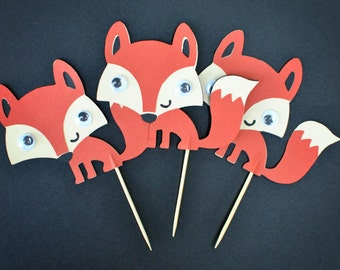 Fox - Fun Fox Cupcake Toppers with Googly Eyes - Set of 12