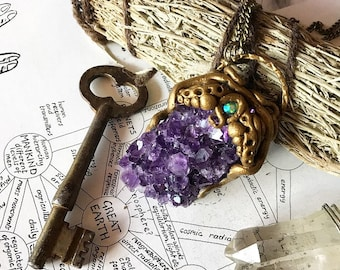 Amethyst Crystal Amulet Necklace