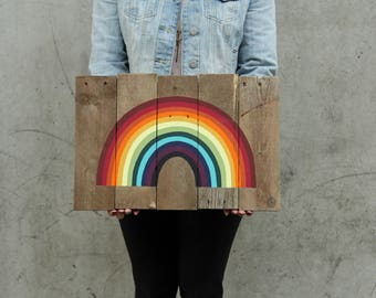 Ready to Ship // Colorful Rainbow Reclaimed Pallet Wood Sign