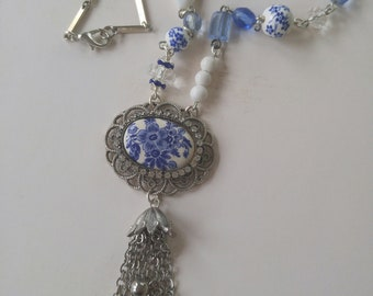 Upcycled porcelain cameo necklace, tassel, repurposed, shabby chic, boho, blue, one of a kind jewelry