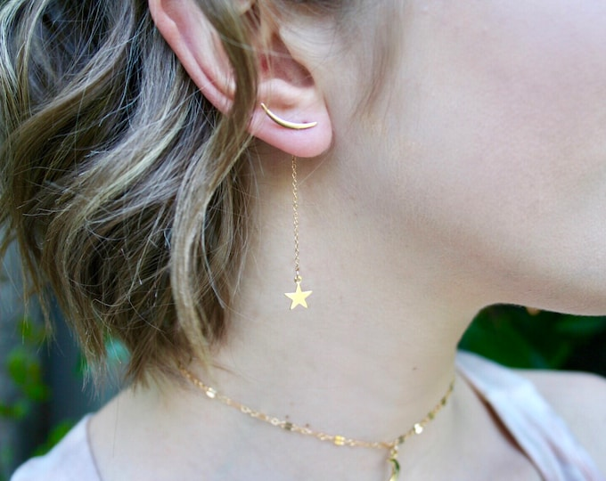 Featured listing image: NEW! Celestial 14k Goldfill or Sterling Silver Moon Earclimbers with Star drop.  3-in-1 design!