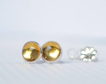 Citrine Stud Earrings, Citrine Earrings, November Birthstone gift for her, Natural Yellow Gemstone Posts: Sterling Silver, 14k Gold Filled