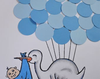 Personalized Baby Stork Baby Shower Guestbook Alternative