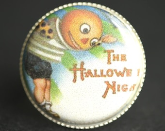 Halloween Night Ring. Vintage Print Button Ring. Halloween Ring. Silver Ring. Adjustable Ring. Halloween Jewelry. Handmade Ring.
