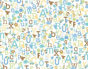 Snips & Snails Alphabet White by Doodlebug Designs for Riley Blake, 1/2 yard