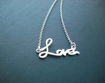 Sterling Silver Chain - love pendant necklace