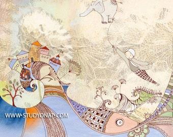 Flying elephant art, Elephant wall art nursery, dream big wall art, painting of elephant, monochrome nursery, whimsical elephant, Landscape