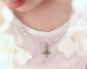 Children's Cross Necklace. Baptism Gift. Flower Girl Necklace. Children's Jewelry. Christening Jewelry. Gift for Baby. Christening Gift