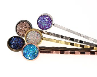 10pcs of 10mm Bobby Pins Round Tray Hair Accessory Bezel Blanks, Made with Brass (choose your color at drop menu)