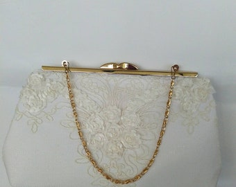 Coose your color !! Ivory floral lace purse wedding bridesmaid evening prom clutch  BBsCustomClutces