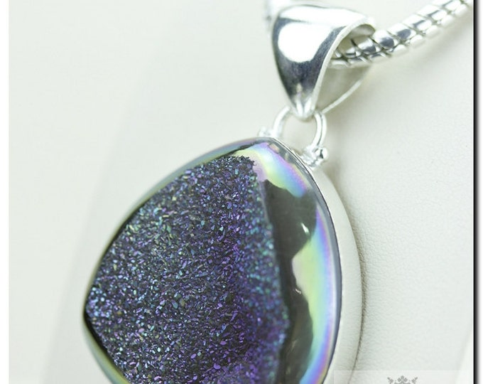 Midnight Titanium Window Drusy Druzy 925 SOLID Sterling Silver Pendant + 4mm Snake Chain & FREE Worldwide Shipping p1330
