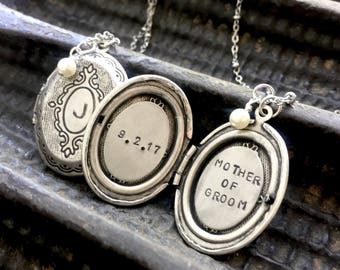 Mother of Groom necklace, initial locket necklace, Personalized jewelry, two initials, silver oval locket, wedding , personalized locket