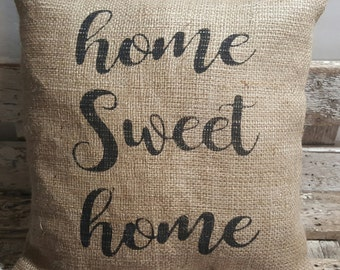 "Home Sweet Home Burlap Stuffed Pillow 14"" x 14"" Rustic Decor"
