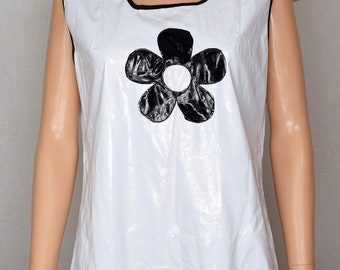 Costume - MOD Vinyl Black & White space age pop art Flower 1960's Go-Go Laugh-In 1990's Costume Mini Dress size L