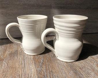 Handmade Large Unique Pottery Mugs White 14oz (SET)