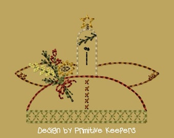 Primitive Machine Embroidery Design-Angel Blessings--Version 2--(4x4)-INSTANT DOWNLOAD