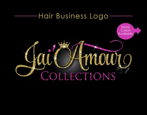 Hair Business Logo, Hair Extensions Logo, Virgin Hair Logo, Hair Collection Logo, Hair Logo Design, Hair Tag Logo, Hair Glitter Crown Logo