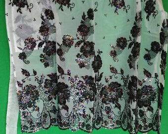 Vintage apron with sheer embossed floral fabric and glitter!