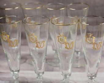Vintage Mid Century Modern Caduceus RX Pharmacy Medical Libbey Glass Glasses Glassware Retro