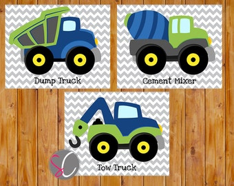 Boys Construction Trucks Vehicles Wall Art Room Decor Trucks Lime Green Blue Playroom 3 Printable 8x10 Digital JPGs Instant Download (cs2)