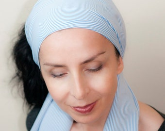 Head Scarf - Womens Headband Hair Wrap Hair Accessories Classic White Blue Stripes Head Wrap Turban Classic Scarf Neck Bow Sash Spring Scarf
