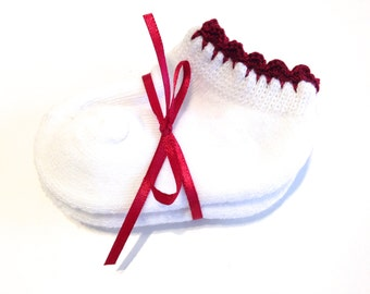 Infant Girl Socks With Burgundy Crocheted Shell Stitch-Size 0-6 Months