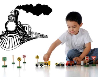 Train Decal, Train Decor, Train Decorations, Smoke, Locomotive, Vinyl, Wall Sticker, Home, Kid's Bedroom Decor, Playroom Decal, Boys Decor