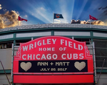Personalized Wedding Gift, Chicago Cubs Wrigley Field Sign Anniversary Gift Baseball Decor Wall Art p192
