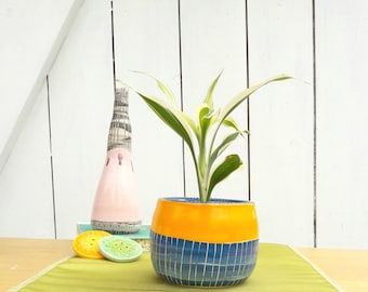 Stripey Cactus Pot - Succulent Pot - Cactus Planter - Plant Pot - Handmade Gift - Pinstripes - Gift for Girls - Gifts for Boys