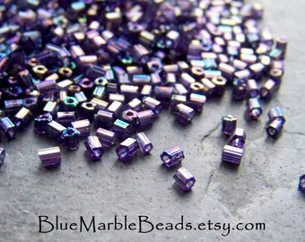 Seed Beads, India Beads, Tribal Bead, Boho Bead, Boho Chic, Vintage Glass, Purple Bead, Hexagon, AB Finish, 11/0, Jewelry Supplies, 1 Ounce