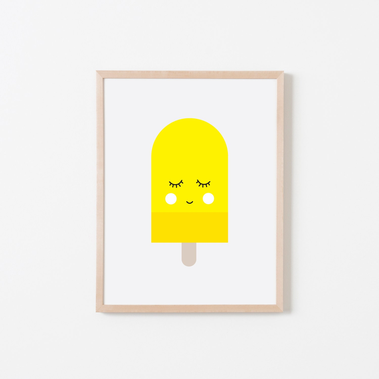 Yellow Popsicle Nursery Art. Nursery Wall Art. Nursery Prints.