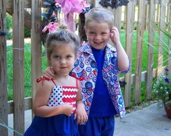 Fourth of July, 4th of July, Independence day, girl clothes, baby girl clothes, sibling clothes, dress, red, blue, patriotic, boy shirt