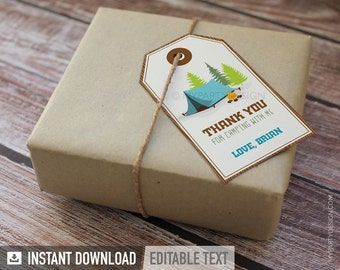 Camping Party - Thank You Tags - Favor Labels - Boy Campout Sleepover - Glamping - INSTANT DOWNLOAD - Printable PDF with Editable Text