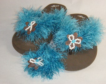 Blue and Brown Flip Flops and Hair Scrunchie Set